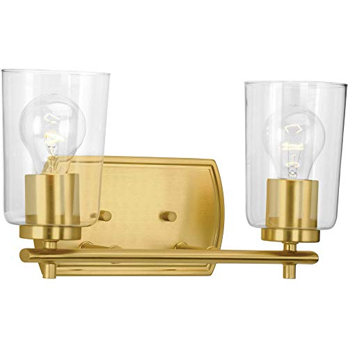 Progress Lighting P300155-012 Adley Two-Light Bath & Vanity with Clear Glass, 7-5/8