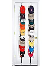 Cap Rack 2 Packs - Holds up to 16 Caps for Baseball Hats, Ball Caps For Use In Two Different Rooms Excellent Ball Cap Rack Storage Holder Organizer Hats Shelf Cap Holder(Black and Pink)