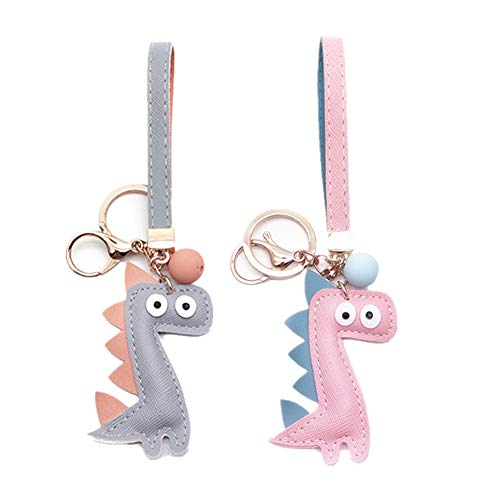 MUAMAX Dinosaur Key Chains for Women Girl Girlfriend,Bag charm,Keychain for Car Keys,Gift for Her (Pink+Grey) ()