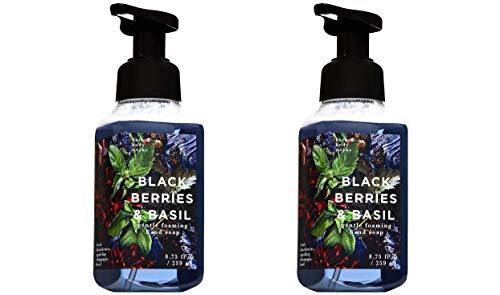 Bath and Body Works 2 Pack Blackberries and Basil Gentle Foaming Hand Soap. 8 Oz