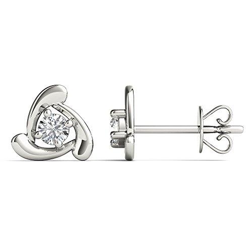 JewelAngel Women s 10K White Gold 1 8 Carat TDW Diamond Spin Fashion Stud Earrings H-I, I1-I2