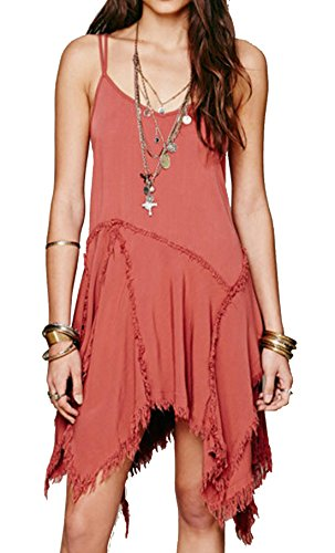 [R.Vivimos® Women Spaghetti Straps Asymmetrical Hem Sexy Short Sun Dress Medium Red] (Hippie Dress)