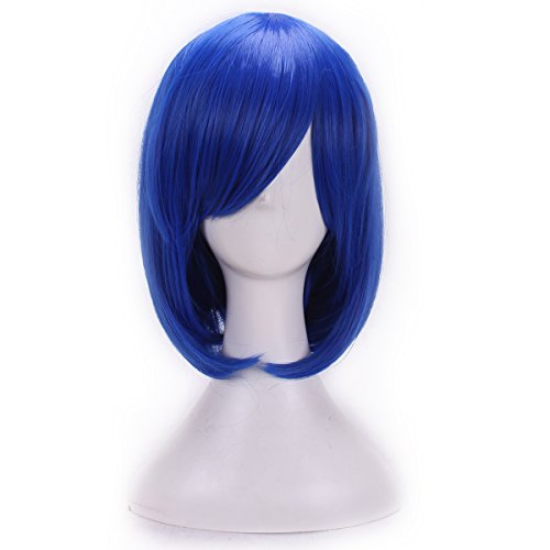 [MOCOO High Quality BOBO Short Straight Hair Wig Lace Front Edge Bangs Wig Women Cosplay /Party Costume] (Blue Wigs For Women)