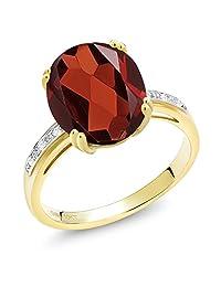 5.64 Ct Oval Red Garnet White Diamond 10K Yellow Gold Ring
