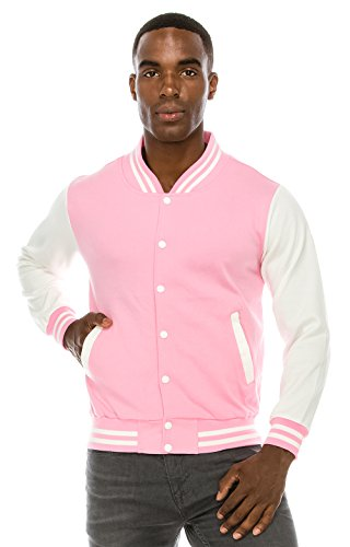 Midweight Varsity Jacket (Angel Cola Men's Cotton Varsity Jacket Pink/White S)