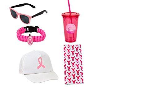 Breast Cancer Awareness 5 Pc Set - Pink Frame Sunglasses, Towel, Tumbler, Hat, All Pink Parachute Bracelet ()