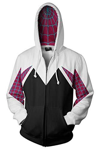 Newhui Gwen Stacy Hoodie Costume Into The Spider Verse Spider-Woman Hooded Coat Jacket White]()
