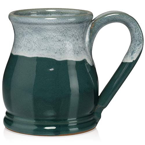 Uncommon Clay 16oz Potbelly Coffee Mug Handmade in the USA (Teal/White)