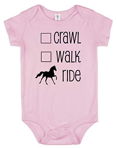 Crawl, Walk, Ride Baby Horse Onesie for Infant Boys & Girls (6 Months, Light Pink)