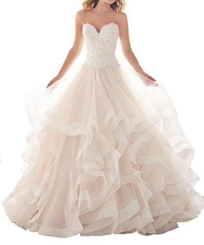 Dressylady Sweetheart Beaded Appliques Organza Ruffles Ball Gown Wedding Dress with Train(18w)