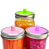 jar of pickles - 6-Pack Waterless Airlock Fermentation Lids for Wide Mouth Mason Jars, Mold Free, Food-Grade Silicone Easy Fermenting Lids for Sauerkraut, Kimchi, Pickles or Any Fermented Probiotic Food (3 Colors)