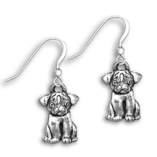 Sterling Silver Pug Earrings by The Magic Zoo (Pug Sterling Silver)