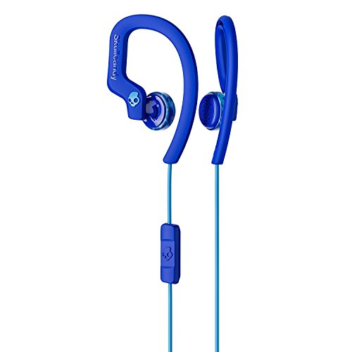 Skullcandy Chops Flex Sweat-Resistant Sport Earbud with in-Line Microphone and Remote, Comfortable and Secure Flexible Ear Hanger, Royal Blue/Swirl