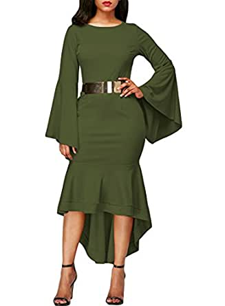 Sidefeel Women Bell Sleeve Mermaid Bodycon Midi Dress With Belt Small Amy Green