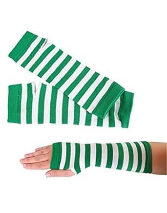 Green White Striped Retro Gothic Punk Arm Warmer Gloves