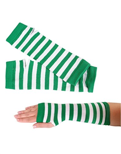 Green Striped Gothic Warmer Gloves