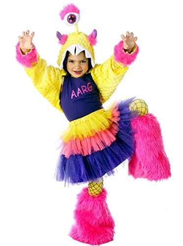 Sm Halloween Costumes (AARG Monstar - Premium Monster Dress-Up Role Play Halloween Costume Set for Girls by Princess Paradise (Child Sm/Med(6 to 8))