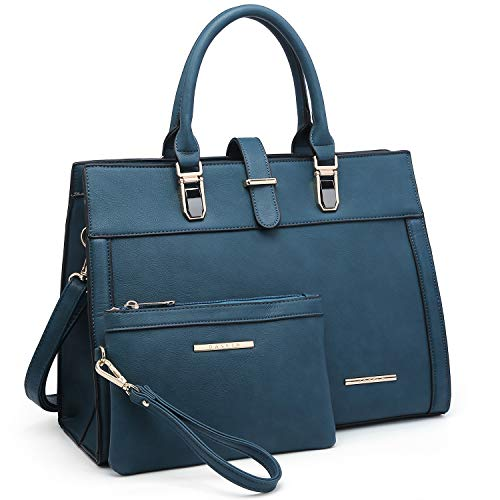 (Women Satchel Ladies Top Handle Shoulder Bag Work Purse 2 Pieces Set Handbag Faux Leather (Teal) )