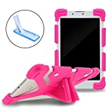 HappyCell Shockproof Silicone Stand Cover Case for iPad Air,iPad Mini,Kindle,Q8,Samsung Galaxy Tab,Verizon Asus RCA Google Dragon Touch Tablets (pink+Stand, 9.1inch-12inch)