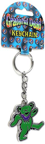 Licenses Products Grateful Dead Purple and Green Bear Metal Keychain (Grateful Dead Silver Ring)