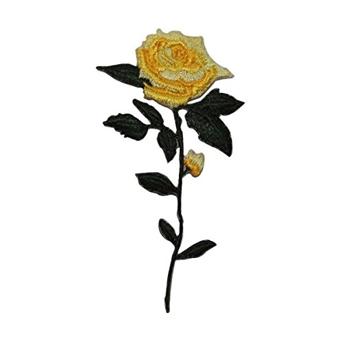 ID 6001 Yellow Rose Stem Patch Blossom Bloom Love Embroidered Iron On Applique