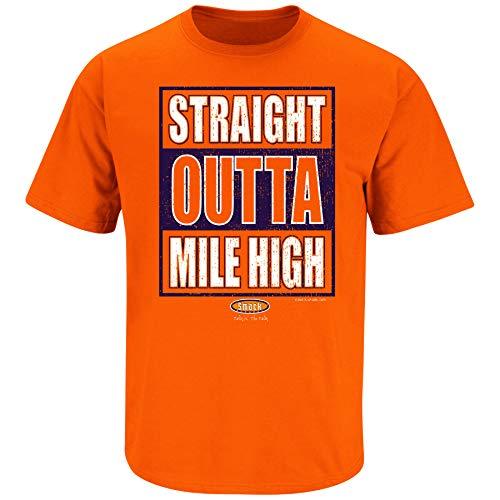 Denver Football Fans. Straight Outta Mile High. Orange T Shirt (Sm-5X) (Short Sleeve, - Broncos Sweatshirt Orange Denver