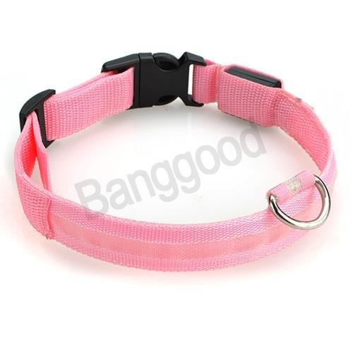 New Nylon LED Dog Pet Flashing Light up Safety Collar Pink Medium Size M