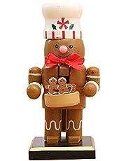 Christmas Wooden Nutcracker Ornaments Nutcracker Figures Toys with Santa Snowman Penguin Chef Puppet Xmas Decoration for Home Office
