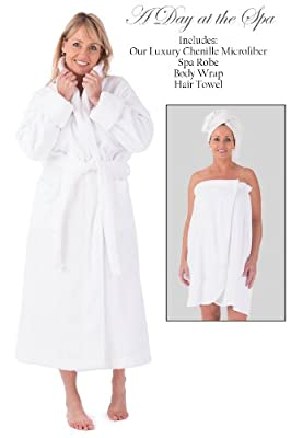 Fishers Finery Womens Five Star Spa Package; Robe, Body Wrap and Hair Towel