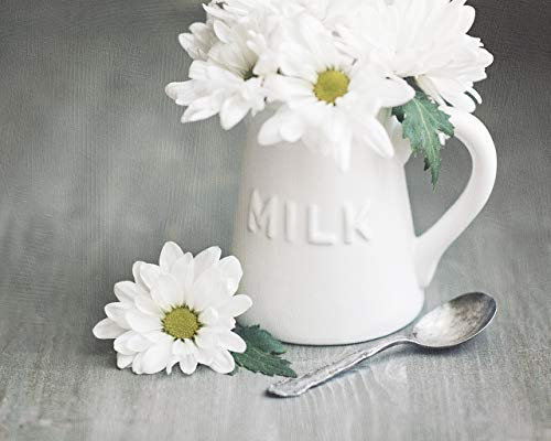 White KITCHEN Wall Art - Milk Creamer Jug with White Daisies Photo Print, Farmhouse Wall Decor, Rustic Art for Kitchen, Country Kitchen Decor, Daisy Photo, White and Gray Art