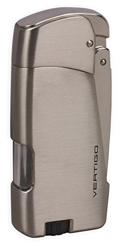 (Vertigo Razor Twin Torch Flame Lighter - Brushed Nickel Gunmetal)