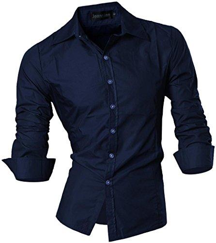 jeansian Herren Freizeit Hemden Shirt Tops Mode Langarmshirts Slim Fit 8312 (US XL, Z008_12_Navy)
