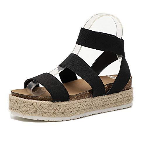 Women Slide On Footbed Wedge Sandals Comfort Ankle Platform Espadrilles Sandals with Elastic Straps (Black,8.5 M US)