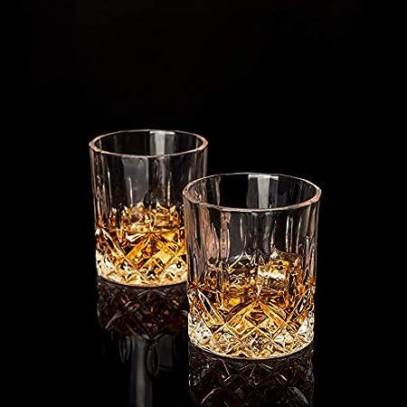 LANFULA 4 Piezas Vaso de Whisky, Whisky Cristal Sin Plomo, 300 ml, Regalo fara Los Amantes Del Whisky
