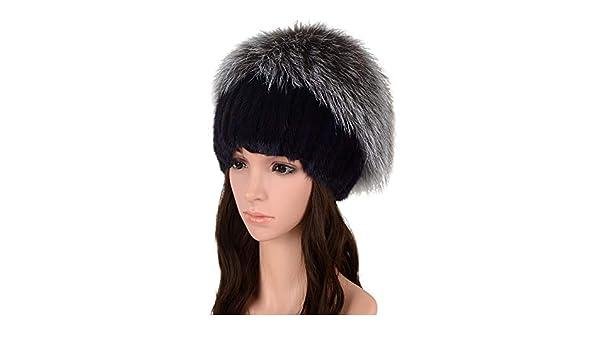 MH Bailment Women Authentic Mink Fur Stripe Knit Beanie Hat Silver Fox Ball Fur Cap