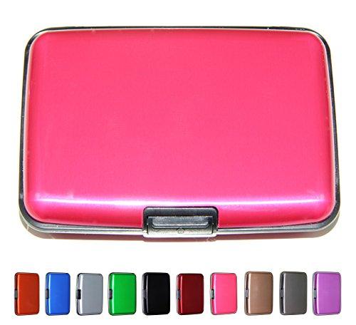 Latest Aluminum RFID Blocking Credit Card Holder, Stylish Travel Wallet - Slim Metal Business Card Case (Pink)