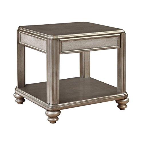 Coaster Home Furnishings Bling Game End Table with Shelf Metallic Platinum - Art Deco Sofa Table