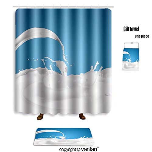 Vanfan Bath Sets With Polyester Rugs And Shower Curtain Pouring White Milk Splash On Colour Backgroun Shower Curtains Sets Bathroom 72 X 88 Inches 31 5 X 19 7 Inches Free 1 Towel And 12 Hooks