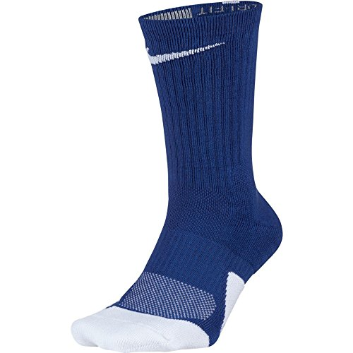 NIKE Unisex Dry Elite 1.5 Crew Basketball Socks (1 Pair), Game Royal/White/White, Medium -