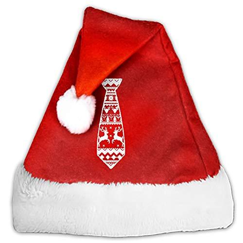 Santa Hat,Green Tie Unisex Velvet Fabric Christmas Hat with Comfort Lining&Plush Brim -