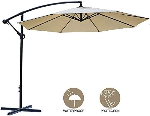 SUPER DEAL 10FT Cantilever Offset Patio Umbrella – Outdoor Hanging Market Umbrella with 8 Sturdy Ribs, Crank Lift Cross Base – Perfect for Patio, Garden, Yard, Deck, Poolside