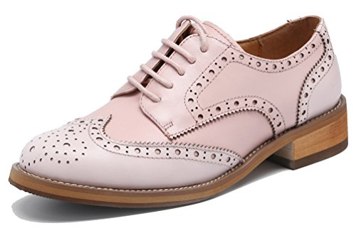 (U-lite Women's Perforated Lace-up Wingtip Leather Flat Oxfords Vintage Oxford Shoes Brogues (8.5, Pink/Light Pink))