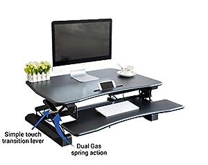Zeal Desk Pro 36 Standing Desk, Sit to Stand up Adjustable Desk Workstation Riser Gas Spring Converter for Desktop Laptop Monitor ZD-LD07 (Black)
