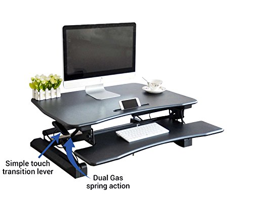 Wood Riser Mini (Zeal Height Adjustable Standing Desk Ergonomic Laptop Monitor Standing Dual Riser Sit to Stand Table Computer Workstation Desk (Pro 36 Black))
