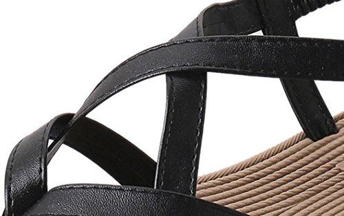 Peep Sandales Plates Air Noir Femmes Lady Loisirs Amlaiworld Bohemia Chaussures 2017 toe De Bandage Plein wAzBzf