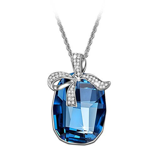 Brilla Swarovski Elements Crystal Fashion Necklace Pendants Jewelry for Women (Butterfly/Heart of The Ocean/Wishing Trees/Lucky Trefoil) (Magi-Blue)