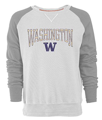 Washington Huskies Tailgate Cooler (NCAA Washington Huskies Men's Sueded Fleece Crew Pullover, Large, Ivory/Oxford)