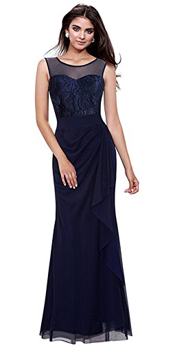 Merope J Womens Pleated Sleeveless Mesh Full Length Evening Gown Dress(XL,Navy) (Celeb Halloween Costumes 2017)