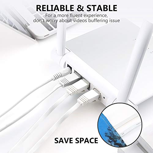 Jazzy 20m Cat6 Ethernet Cable,Cat6 Gigabit Lan Network RJ45 High-Speed Patch Cord Flat Design 10Gbps for 600Mhz/s STP for Console, PS3, PS4, PS5, Switch, Router, Modem, Patch Panel, PC