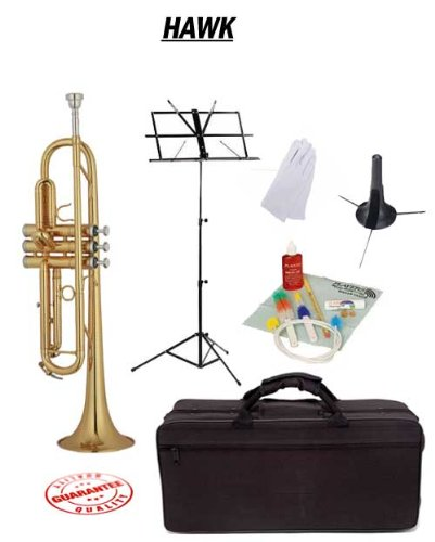 Hawk Lacquer Bb Trumpet School Package with Case Music Stand Trumpet Stand and Cleaning Kit WD-T311-PACK